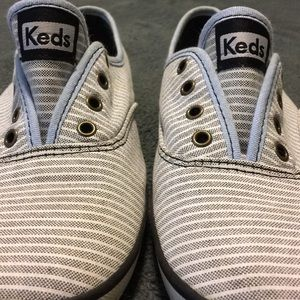 Blue and White Striped Keds